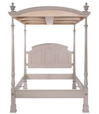 The Barrington Bed full frame with canopy from foot board