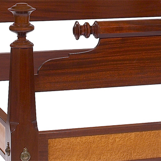 The American Empire Bed close up of post and foot board at a 45 degree angle