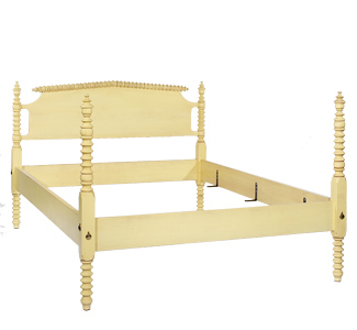 The Farmhouse Spool Bed from 45 degree angle to Footboard