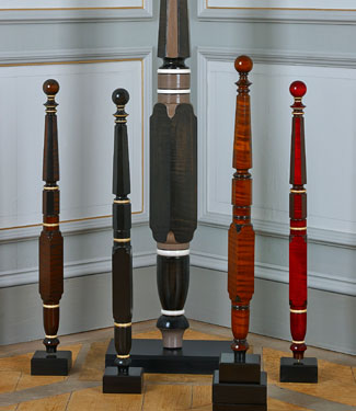 The Wakefield Bed Posts in Half Scale showing various finishes