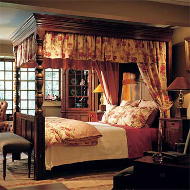 The English Tudor Bed Dressed Photo from Side