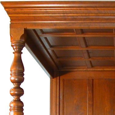 The English Tudor Bed Closeup of post and valance